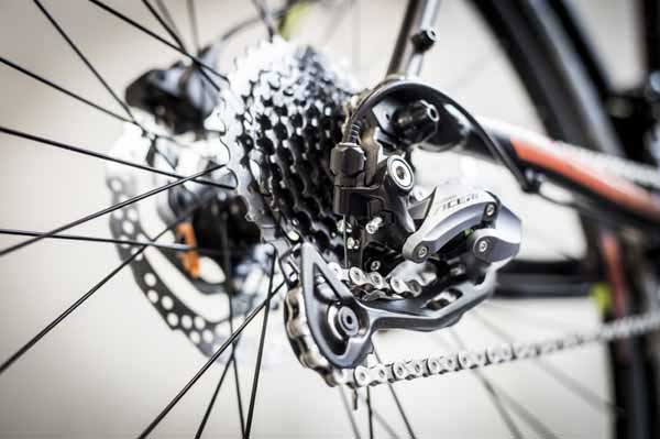 Cycle Trax. Picture of Rear Bicycle Wheel and Derailleur