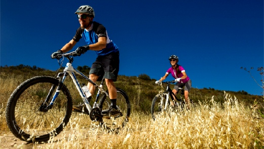 Two people riding mountain bikes
